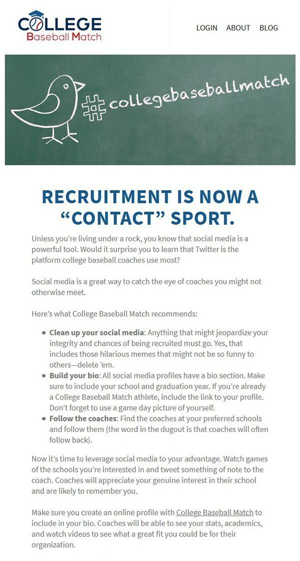 College Baseball Match Recruitment Image