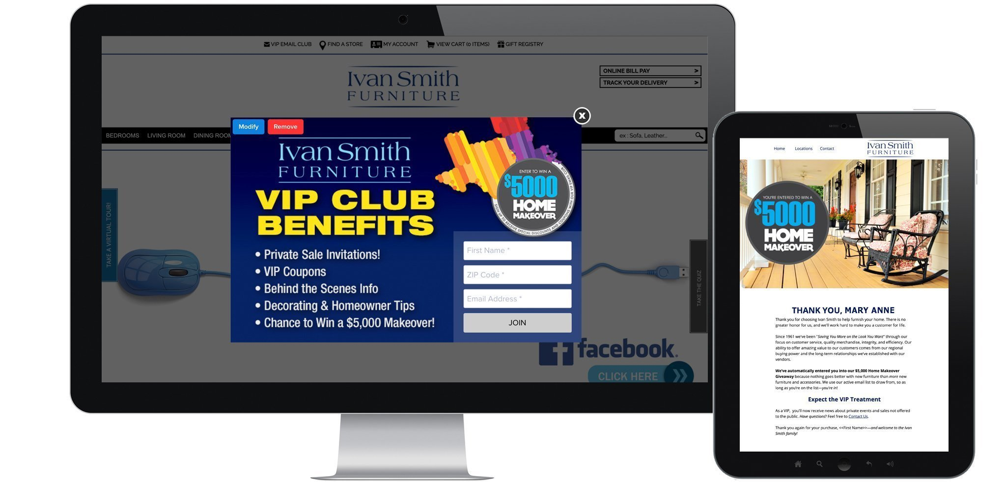 Email Lead Capture Update for Furniture Store Ivan Smith Banner