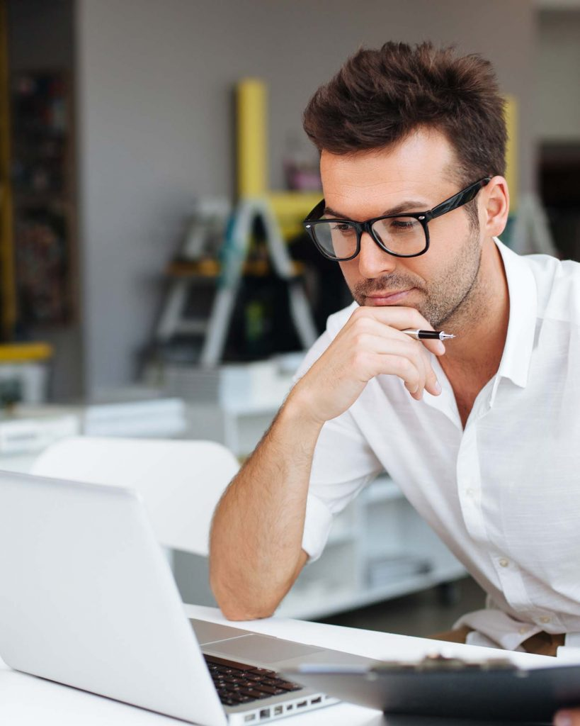 man thinking about how to do email marketing