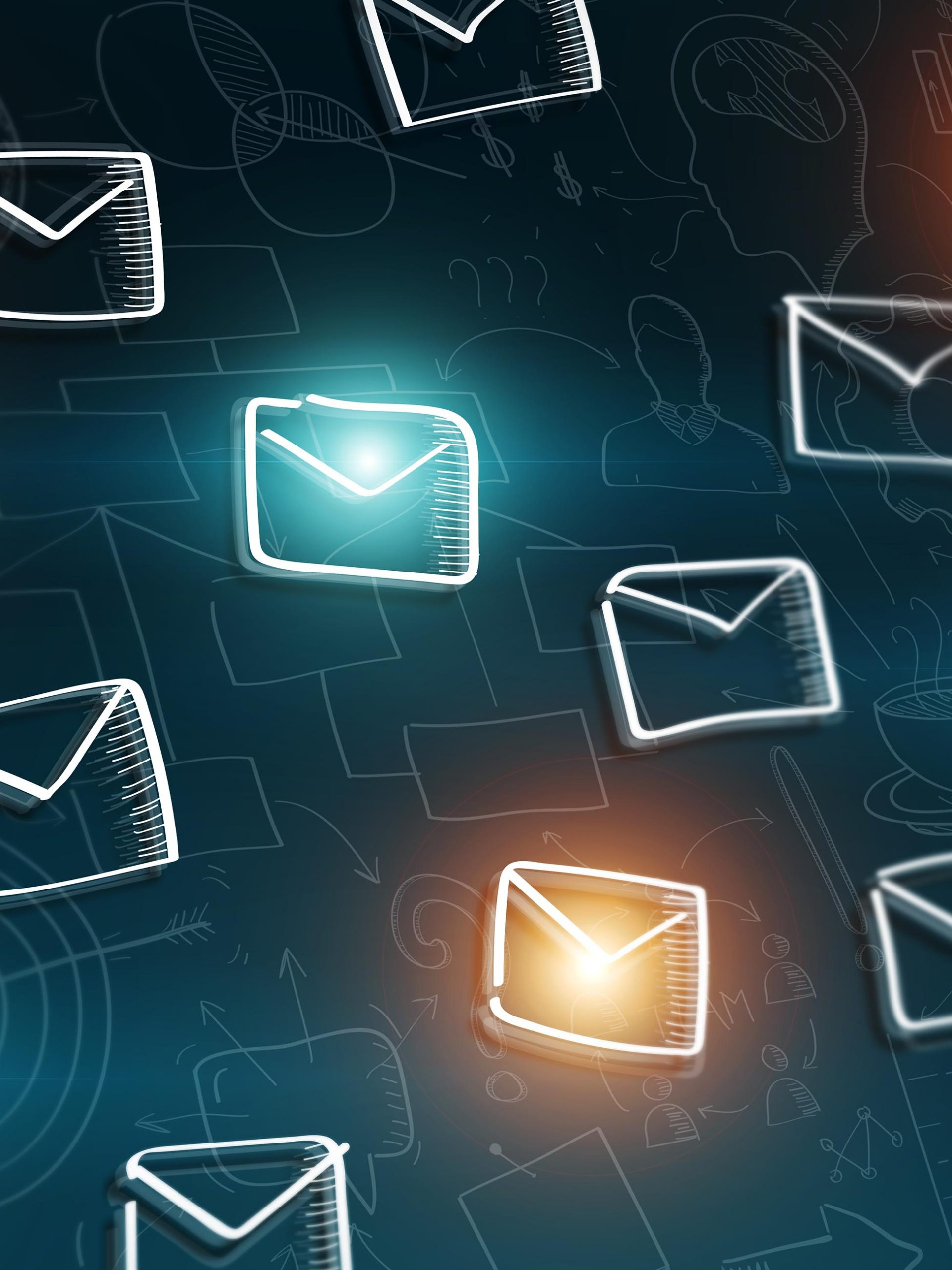 email icons flying around representing email marketing automation