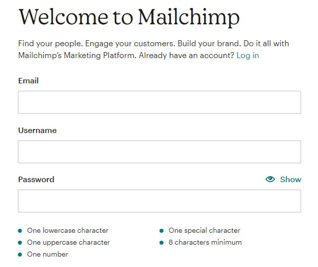 how to create an account in Mailchimp