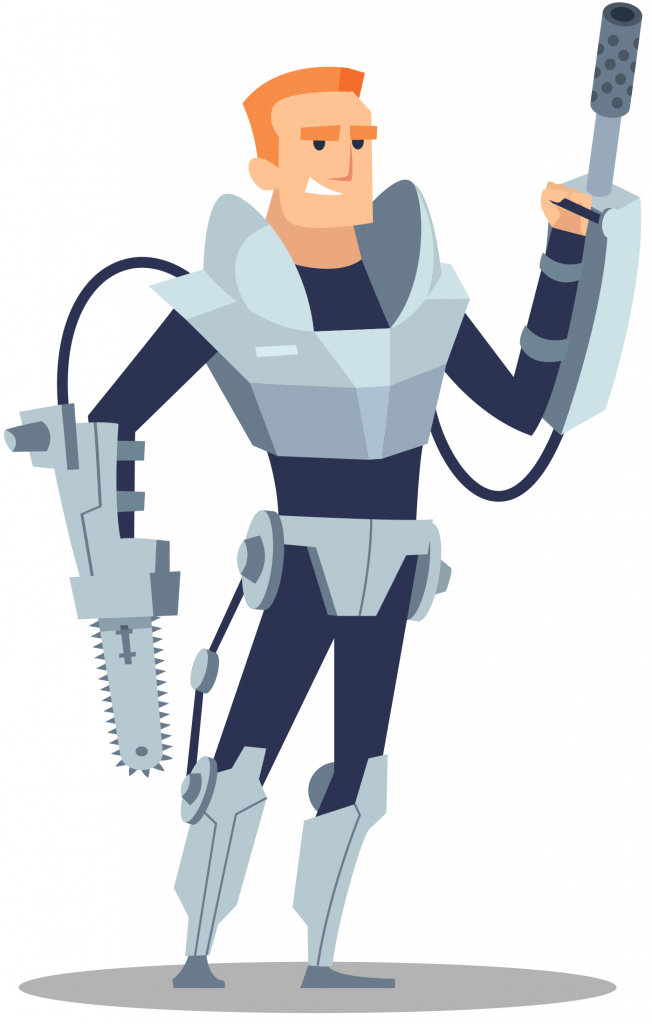 """a illustrated man wearing an email newsletter template """"powersuit"""""""