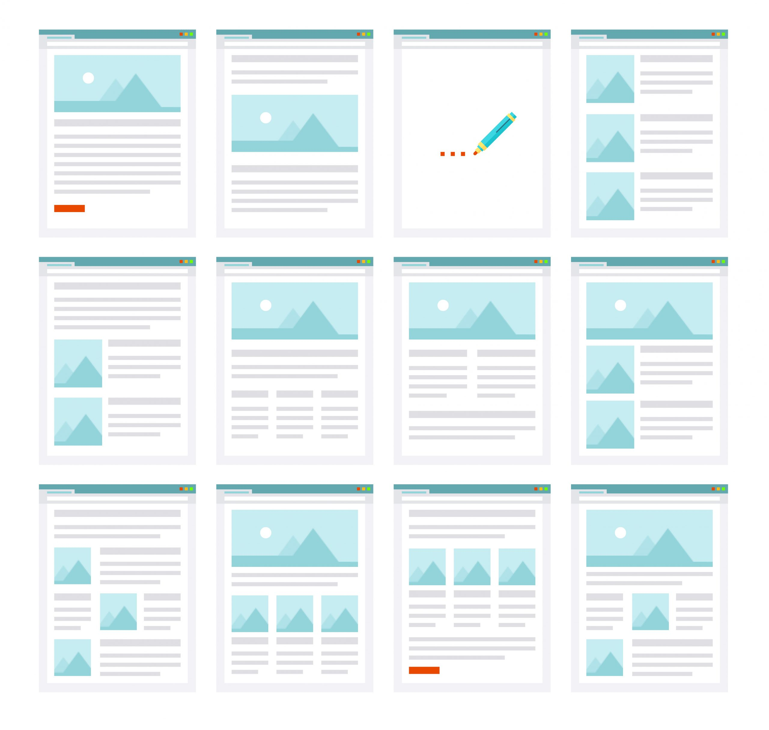 E-mail templates examples wireframe