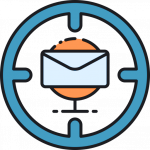 icon of email in a target representing personalized recommendations with mailchimp automation