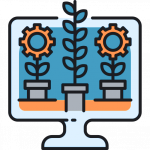 icon of flower growing out of computer representing sales series in mailchimp automation