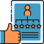 icon of thumbs-up and 5 stars representing automated survey and testimonials from mailchimp automation