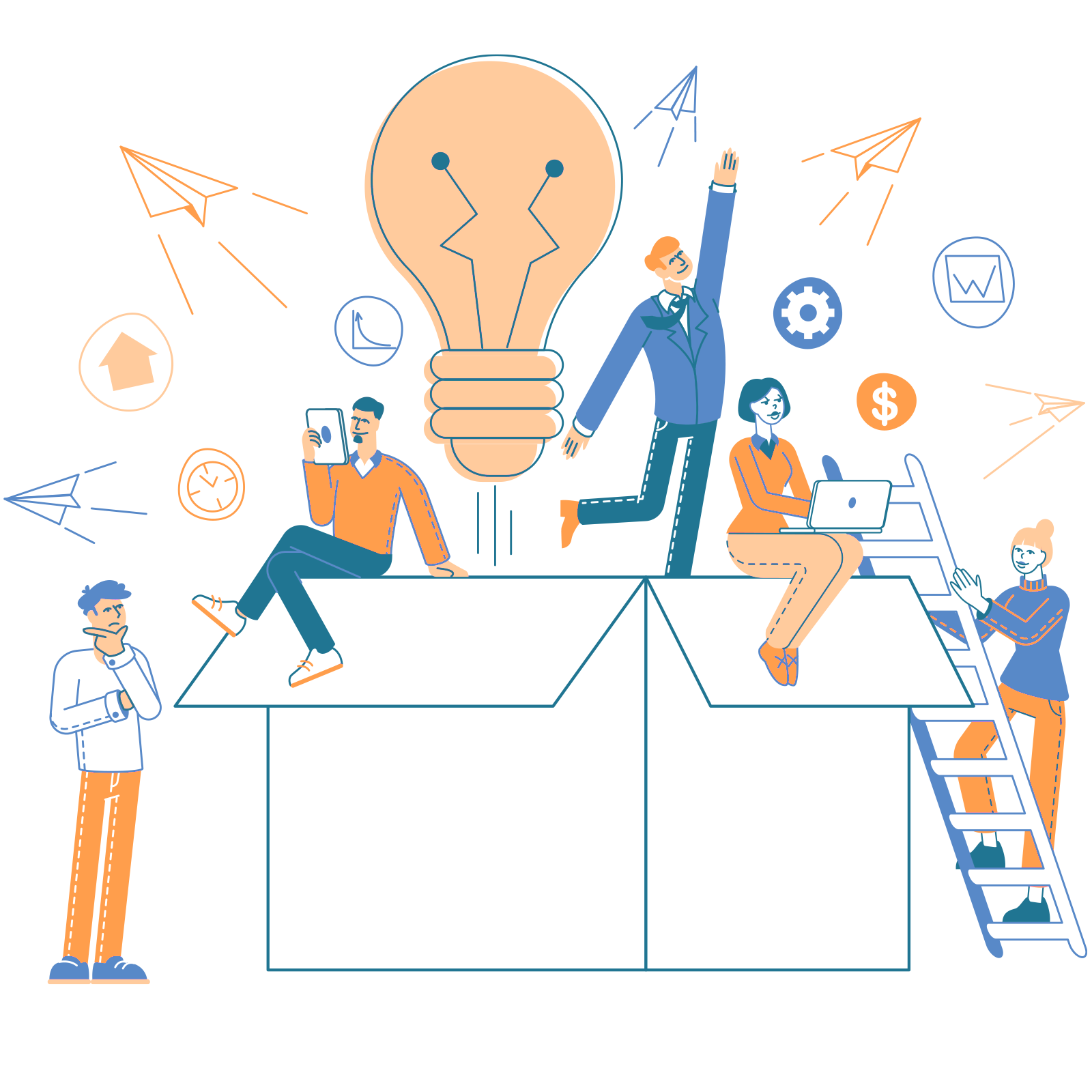 illustration of people and computers representing mailchimp automation with a team of experts